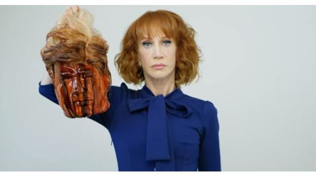 Kathy Griffin releases photo holding a severed Trump head; later apologizes