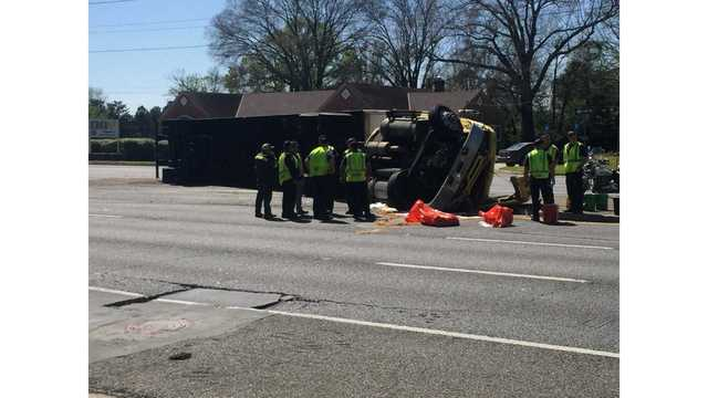 TRAFFIC ALERT: Semi turned over on Victory Drive