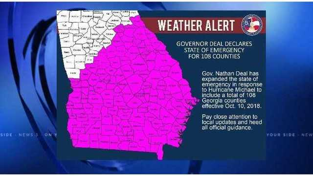 STATE OF EMERGENCY: Georgia Governor expanding declaration to 108 counties